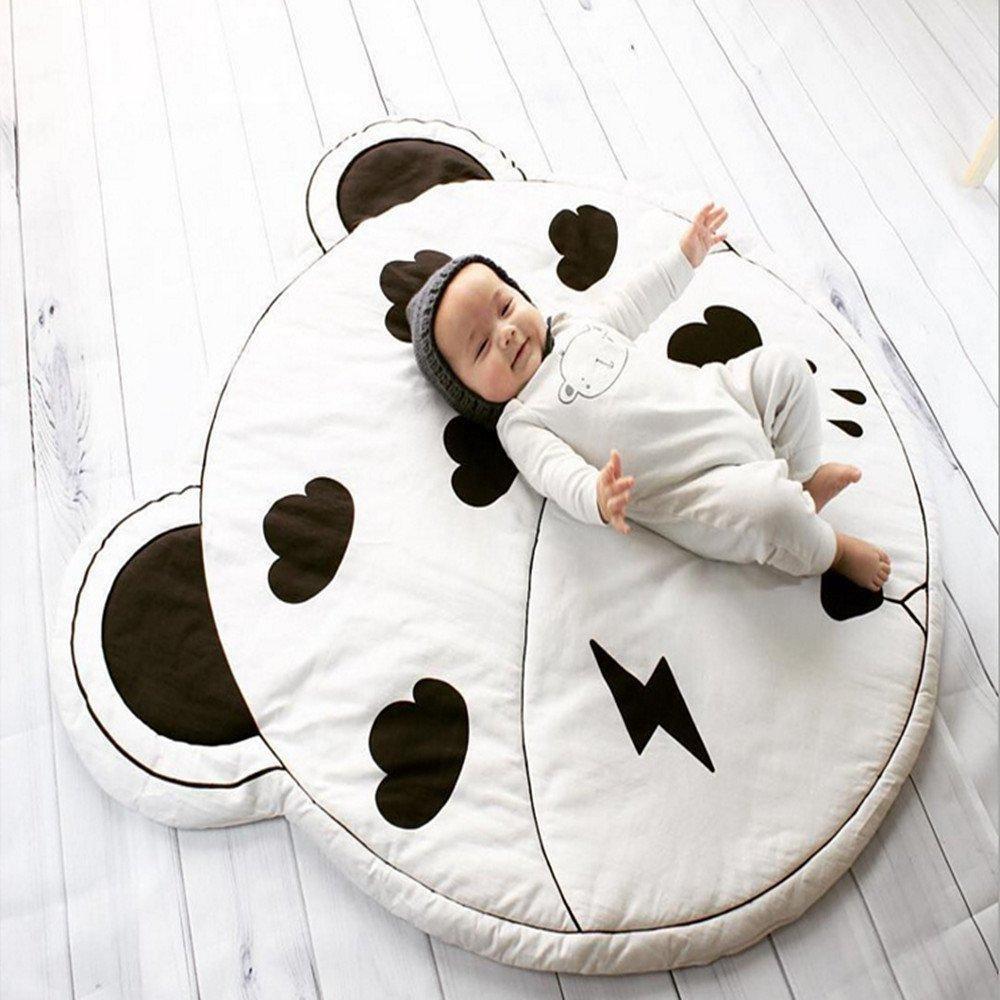 Estera de juego para beb/é Werchenli Cartoon Style para piso reversible 100/% algod/ón grueso 37,4 pulgadas tapete de juego para ni/ños Rabbit