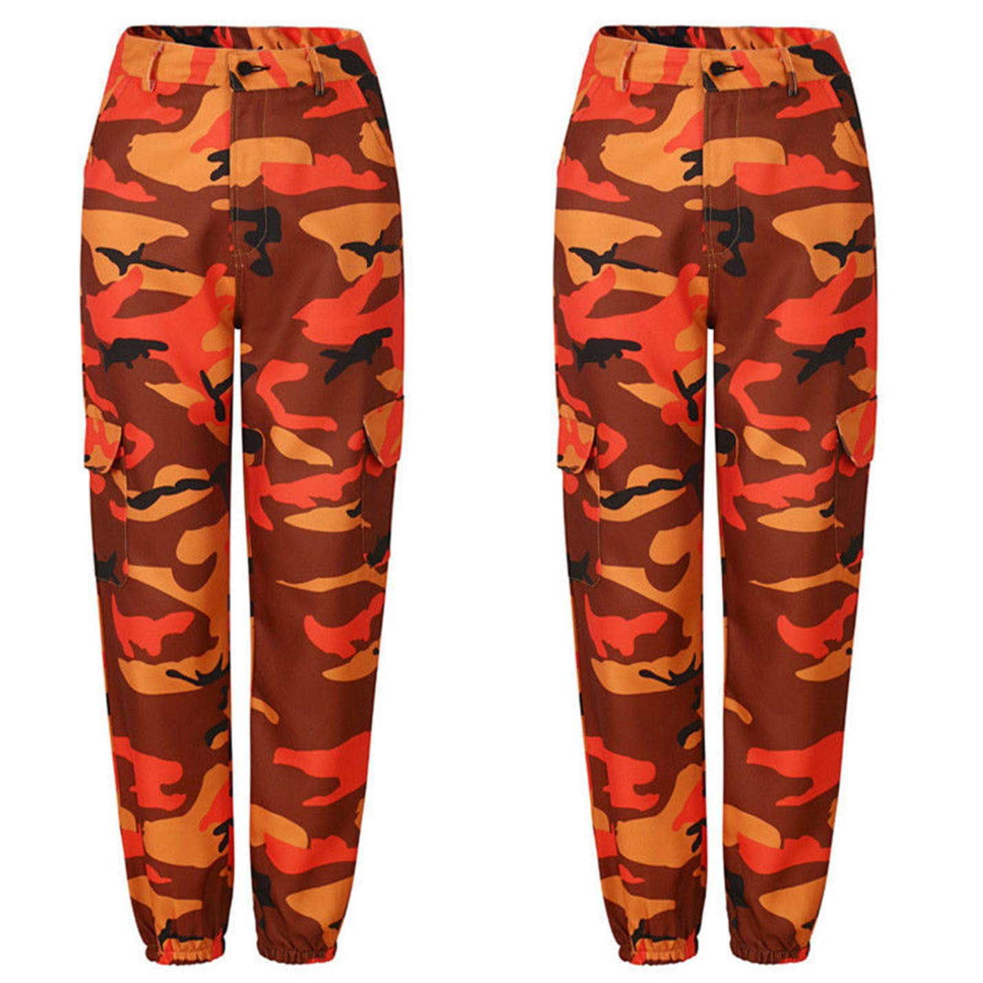 orange Women Casual Camouflage Pants Military Army Trousers Casual Loose Pants