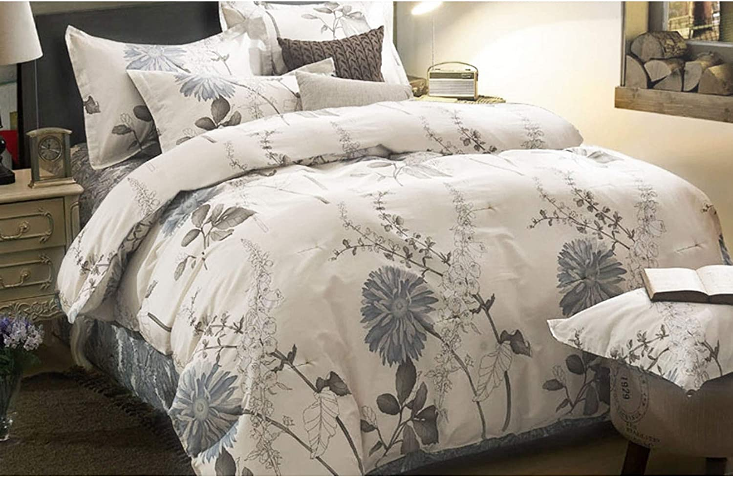 Wake In Cloud - Floral Comforter Set, Botanical Flowers Pattern Printed, 100% Cotton Fabric with Soft Microfiber Inner Fill Bedding (3pcs, California King Size)