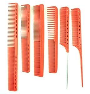 1 Set (6 Pc/Set) Combs Hair Brush Hairdressing Barber Comb Heat Resistant Cutting Measurement Combo Pocket Long Round Handle Holder Fascinating Popular Beard Natural Grooming Women Travel Kit