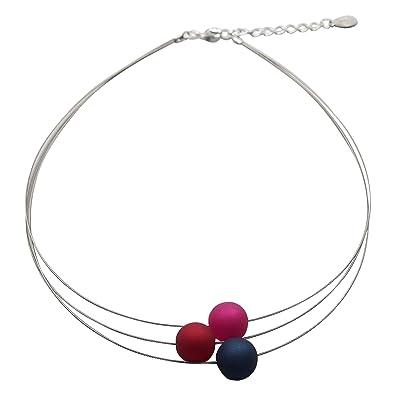 3b8a95f02c36 Perla PD Diseño Collar - Collar de Perlas auténticas Polaris pkd1489 Aprox.  45 cm + 4.5 cm Color Azul Real