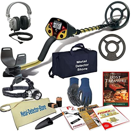 """Fisher F2 Metal Detector W/8"""" Concentric Searchcoil & Cover, HeadLamp, Headphones"""