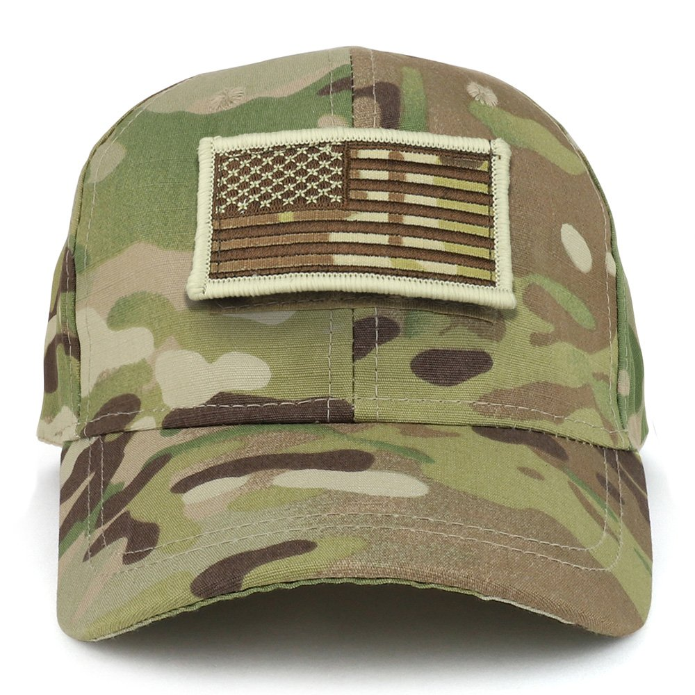 Trendy Apparel Shop Youth Military Camo Combat American Flag Patch Tactical Cap - Multicam