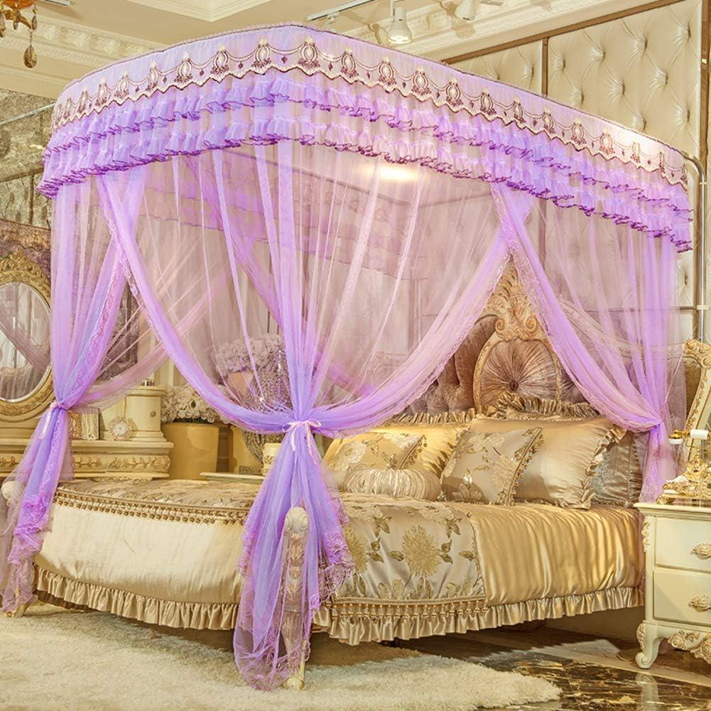姫ベッドキャノピー,暗号化糸蚊帳 引き込み式 ヨーロッパコート ラグジュアリー ベッド キャノピー の-形 ベッド カーテン-パープル