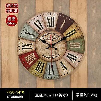 XIXIGZ Relojes De Pared Reloj De Pared Vintage Salón Dormitorio Hogar Moda Gráficos De Pared Simple Reloj Creativa Personalidad Decoración Estilo Europeo ...