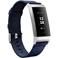 Karei Woven Bands Compatible with Fitbit Charge 3/Charge 3 SE, Soft Accessory Sports Band Replacement Strap Small Large for Fitbit Charge 3 Fitness Activity Tracker Women Men (Navy, Large)