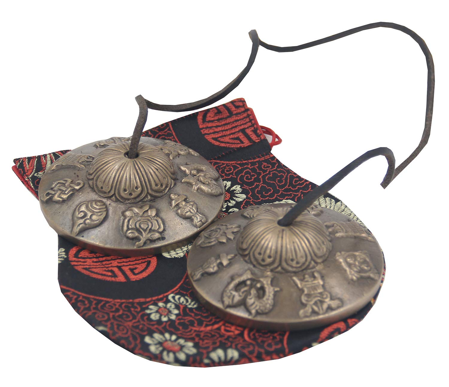 DharmaObjects Large Tibetan Premium Quality''8 Lucky Symbols'' Tingsha Cymbals 3'' With Pouch by DharmaObjects