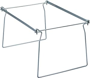 "Smead Steel Hanging File Folder Frame, Letter Size, Gray, Adjustable Length 23"" to 27"", 2 per Pack (64872)"