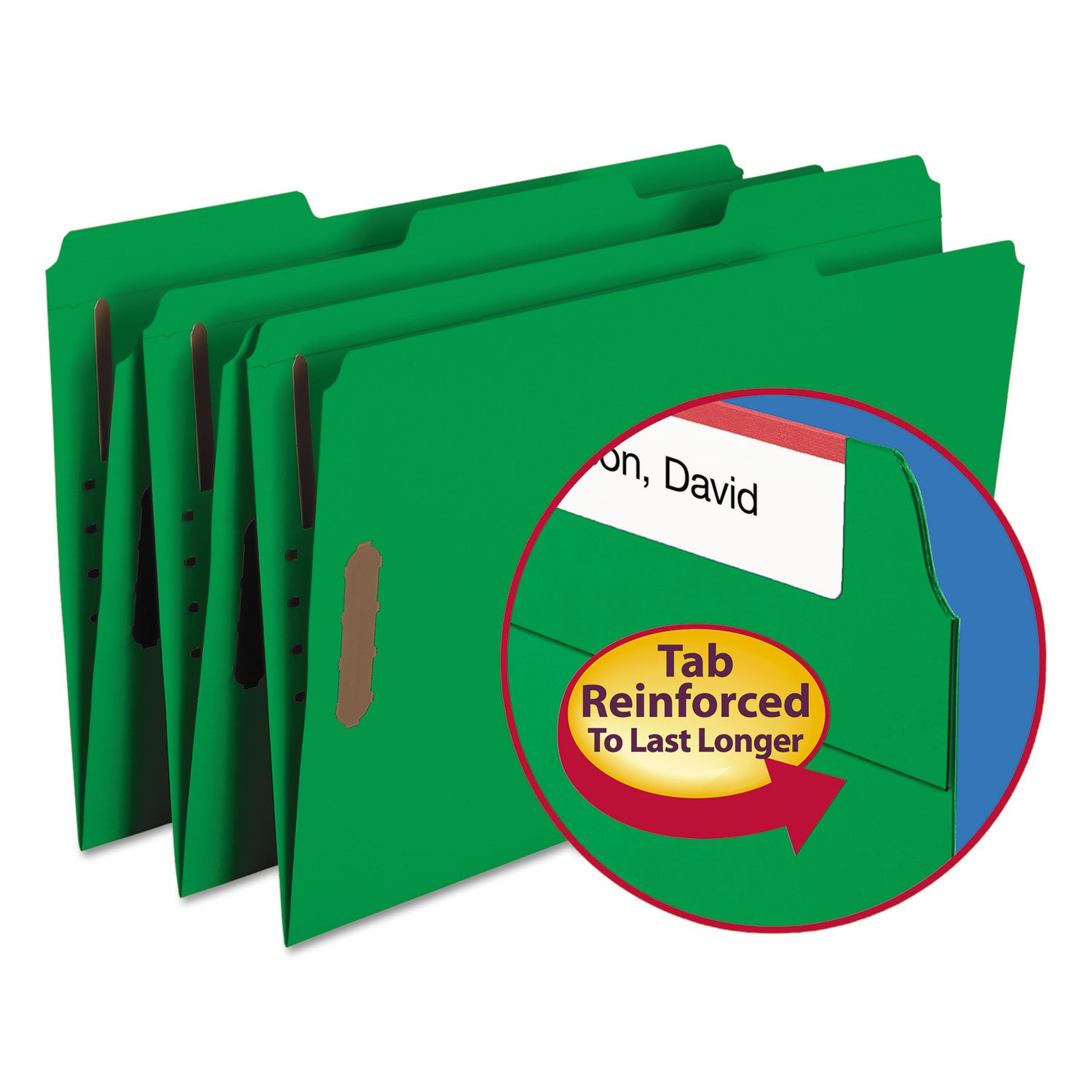 SMD17140 - Smead 17140 Green Colored Fastener File Folders with Reinforced Tabs by Smead