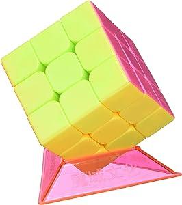 Little Treasures Cube 3 x 3 x 3 Speed Corner Cutting Stickerless Cube, Bright Vivid Colors