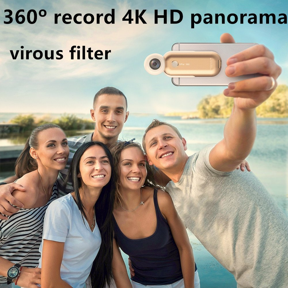 VRCam 4K 360 Degree Camera for iPhone 7/7plus/6/6plus/6s/6s plus VR 3D Panoramic Point and Shoot Video Cameras Dual Wide Angle Fisheye Lens 360 live on Facebook YouTube and Weibo-Space Gray by VRCam (Image #3)