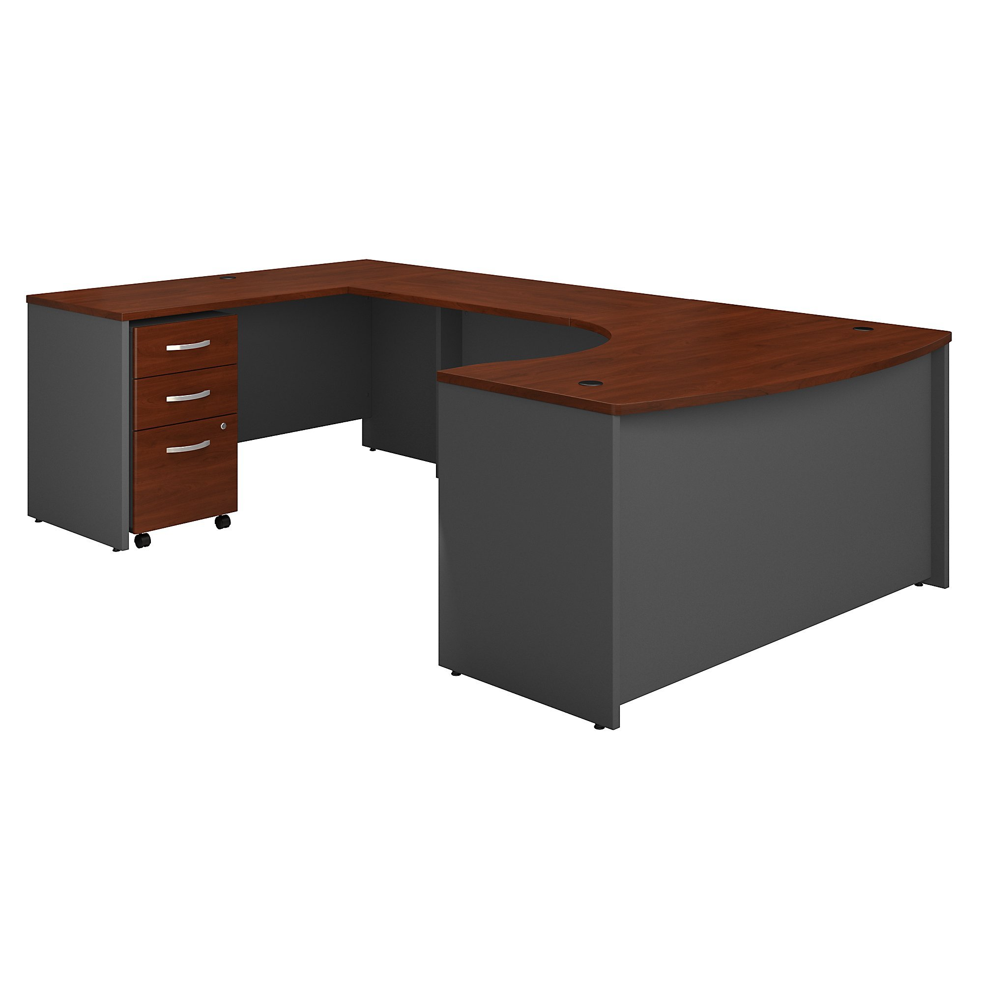 Bush Business Furniture Series C 60W Left Handed Bow Front U Shaped Desk with Mobile File Cabinet in Hansen Cherry