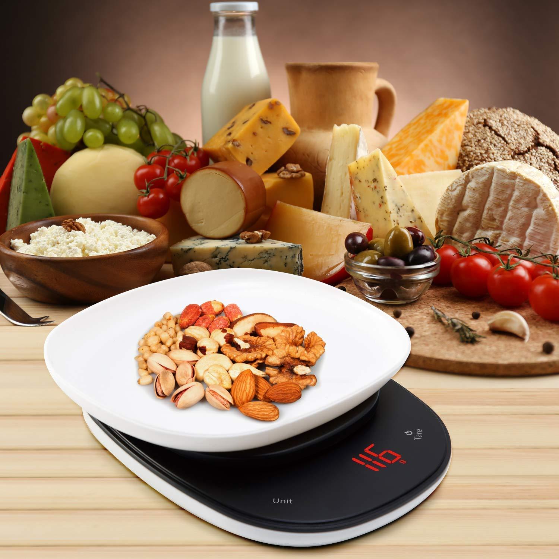 LeaderPro Báscula Digital para Cocina con Gran Pantalla LED Báscula Cocina Botón Táctil Tapa de Doble Uso Báscula Alimentos Multifuncional Alta Precisión ...