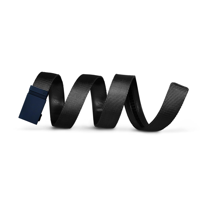 Mission Belt Men's Ratchet Belt - Stealth - Matte Blue Buckle/Black Nylon Strap, Custom (up to 56)