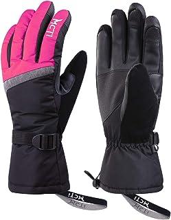 Kineed Skihandschuhe Damen Touchscreen Winterhandschuhe Wasserdicht Snowboardhandschuhe Winter Warm Schnee Handschuhe Winddicht 3M Thinsulate