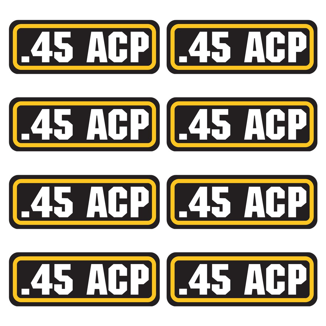 45 ACP ammo sticker 8 PACK - LAMINATED Can Box Vinyl Decal bullet ARMY Gun safety Hunting label