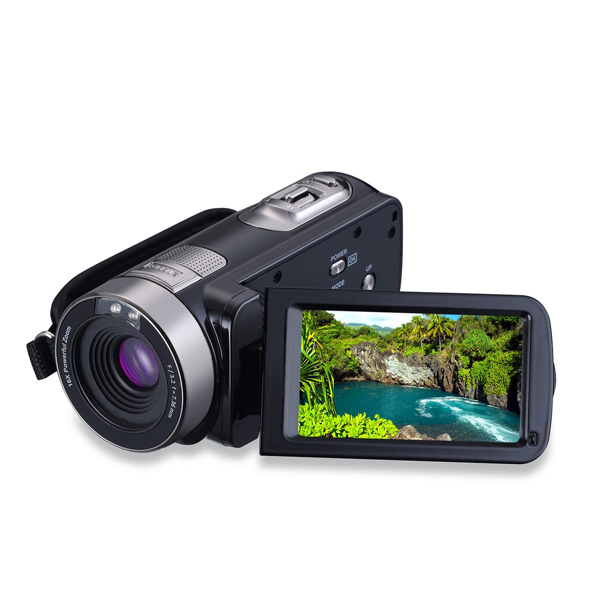 Konesky Camcorder FHD 1080P 24MP Camera with 16X Digital Zoom Remote Control Mass Storage with 3.0'' LCD Screen