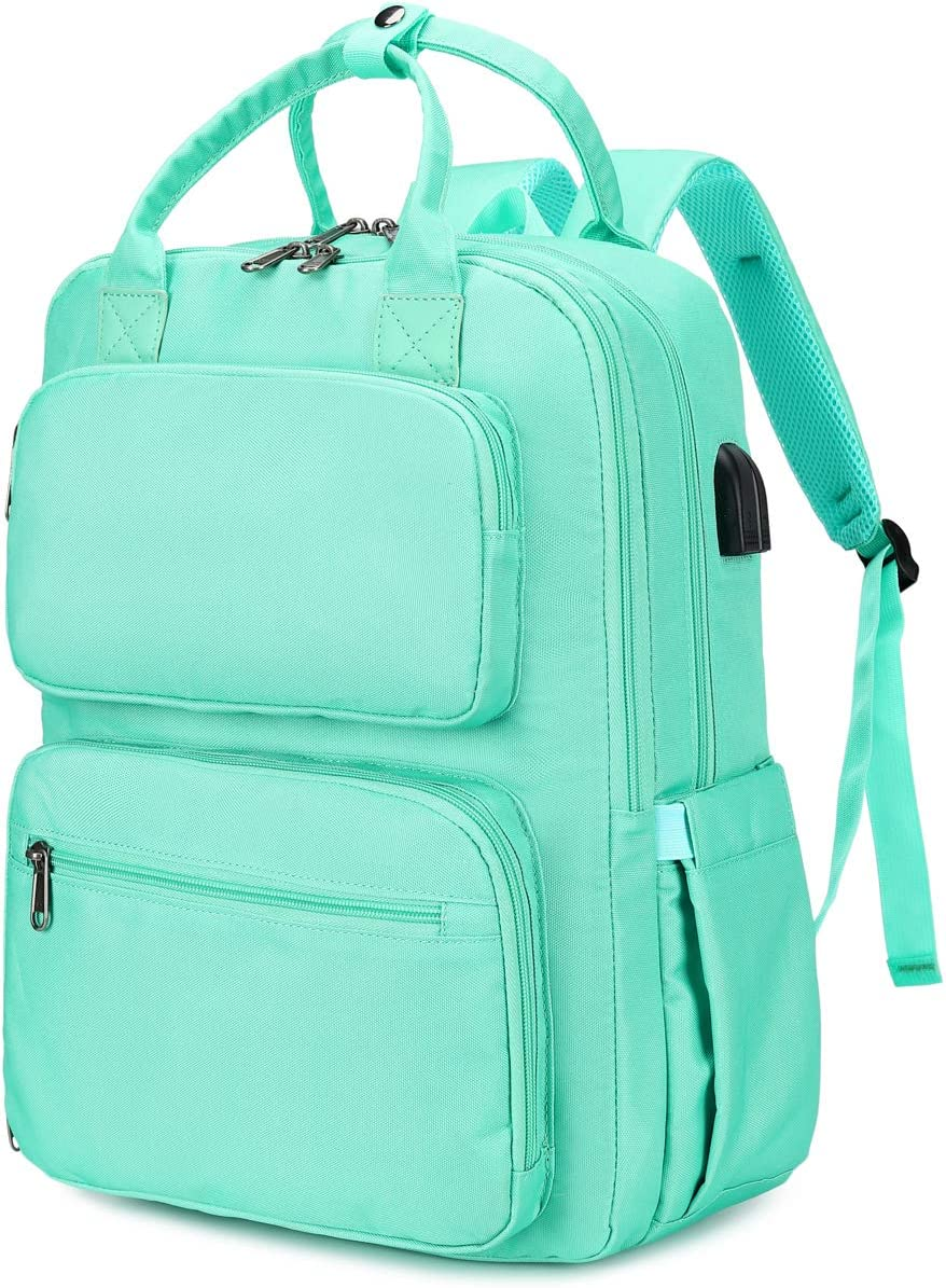 School Backpack Women Girls College Laptop Backpacks with USB Charging Port 15.6 Inch Computer Bookbag (Mint Green)