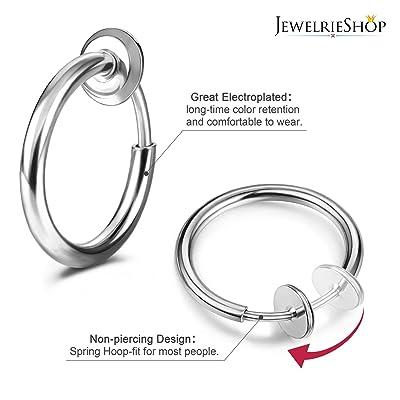 1 pair Clip On Fake Nose Hoop Ring Ear Septum Lip Earrings Non Piercing Black