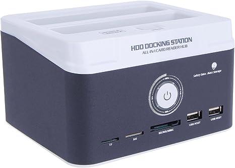 """Dual bay avec fonction clonage hors-ligne pour HDD SATA 2.5/"""" et 3.5/"""" lecteur de carte tout en un Anmyox Station d accueil multifonction disques durs externe double Bay"""