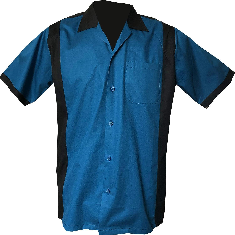 Rockabilly Fashions - Camisa con botones para hombre de los años 50 y 1960, estilo vintage, color azul y negro: Amazon.es: Ropa y accesorios