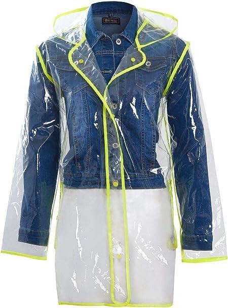Shelikes Ladies Girls Transparent Clear Black Waterproof