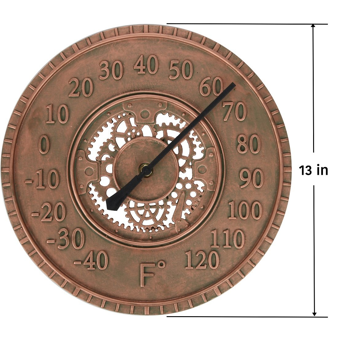 Lily's Home Hanging Wall Thermometer, Steampunk Gear and Cog Design with a Bronze Finish, Ideal for Indoor or Outdoor Use, Poly-Resin (13 Inches Diameter) by Lilyshome (Image #3)