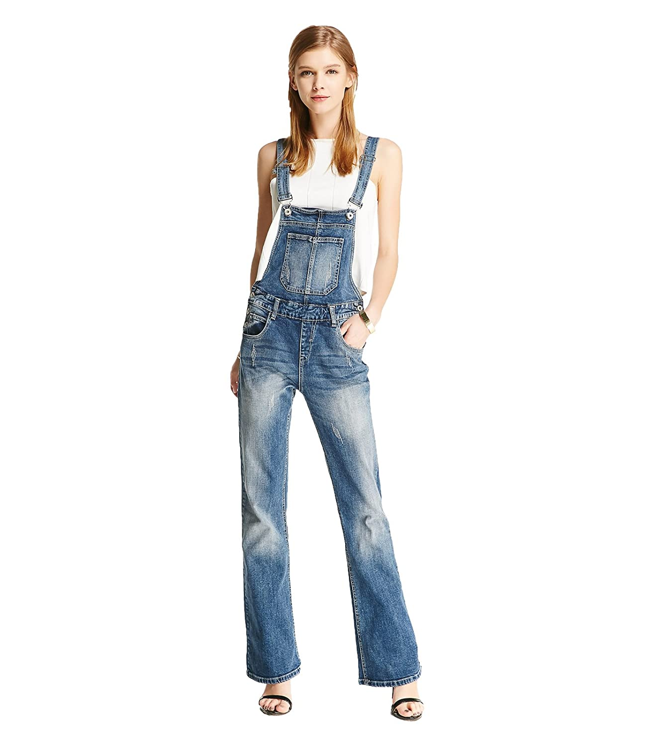 Howriis Women's New Denim Overalls Vintage Worn-Out Long Flare Pants