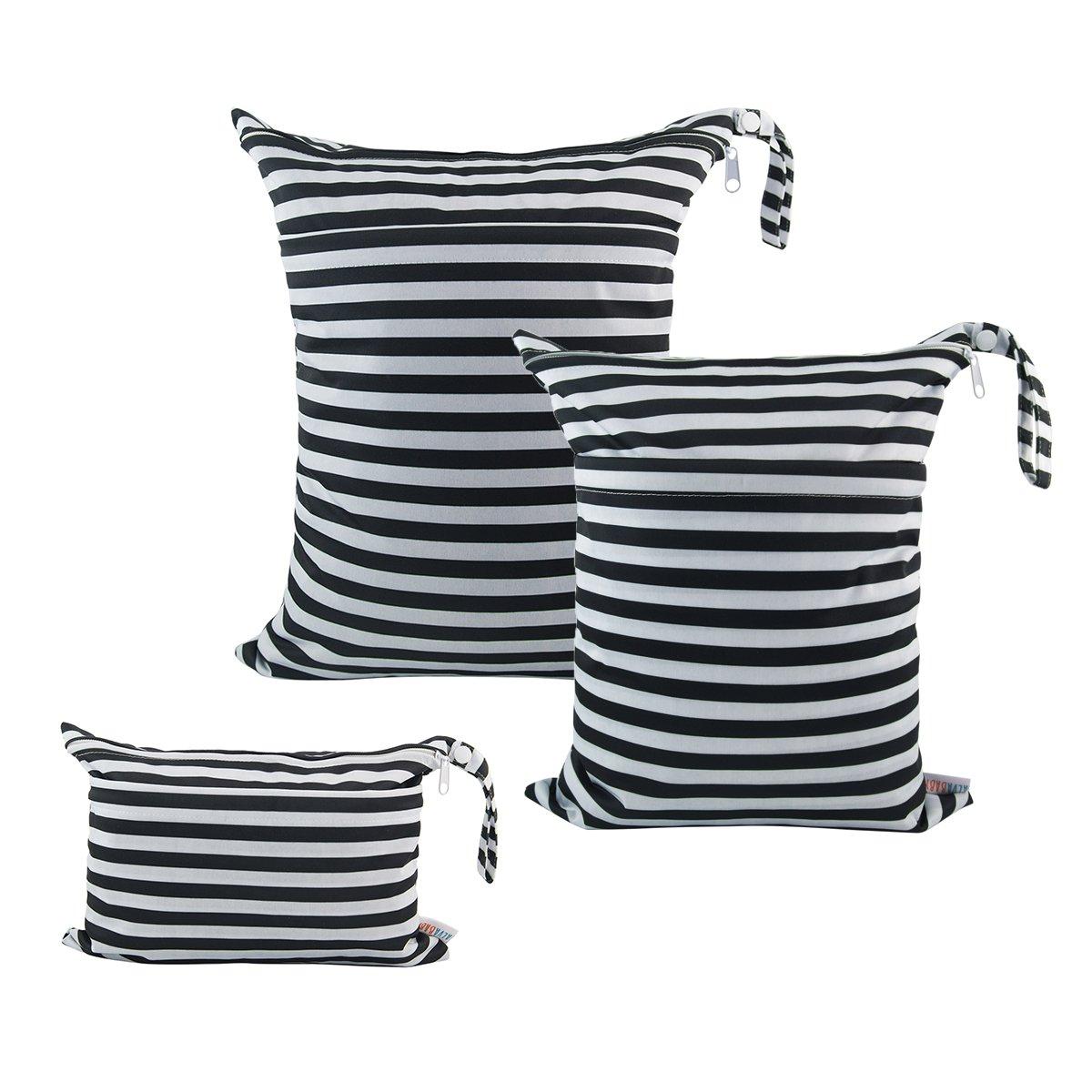 ALVABABY 3Pcs Diaper Wet Dry Bags/Travel Bags/Storage Bags/Cosmetic Bags/Handbags/Wash Bags Waterproof Reusable 3L-WB01