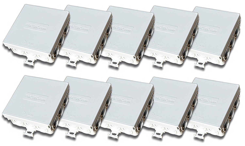 Scatola di giunzione scatola di derivazione 85 x 85 x 37 mm IP55 per ambienti umidi.