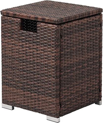 COSIEST Outdoor Hideaway Brown Wicker Tank Table for Gas Fire Pits, Hides Standard 20 Gallon 16-inch Propane Tank Cover