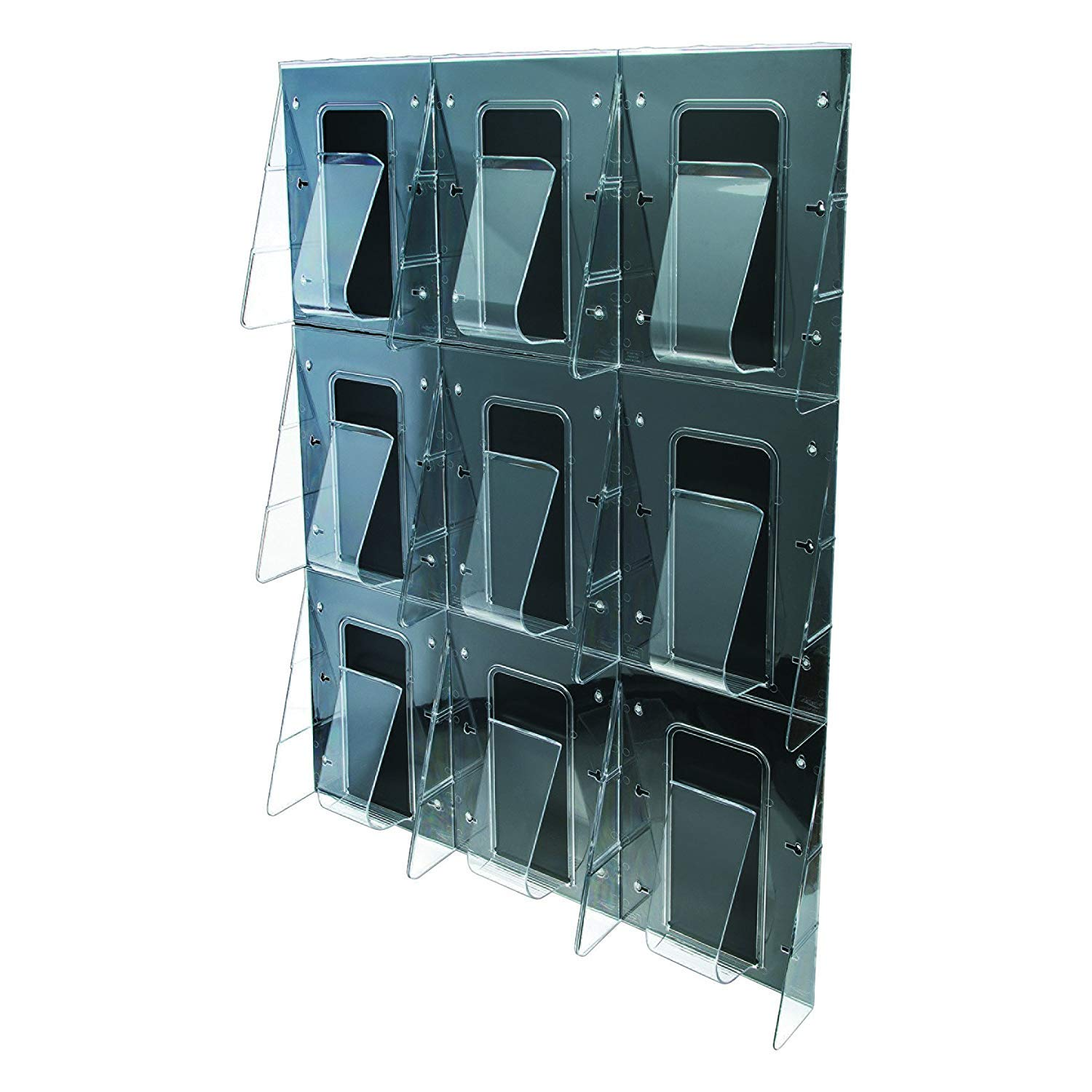 Deflect-O Corporation DEF56801 Magazine Wall Rack- 9 Pocket- 27-.38in.x2-.88in.x35-.25in.- Clear