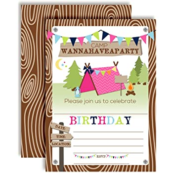 Amazon camping themed party invitations fill in style 20 camping birthday party invitations for girls 20 5x7 fill in cards with twenty white envelopes by amandacreation filmwisefo