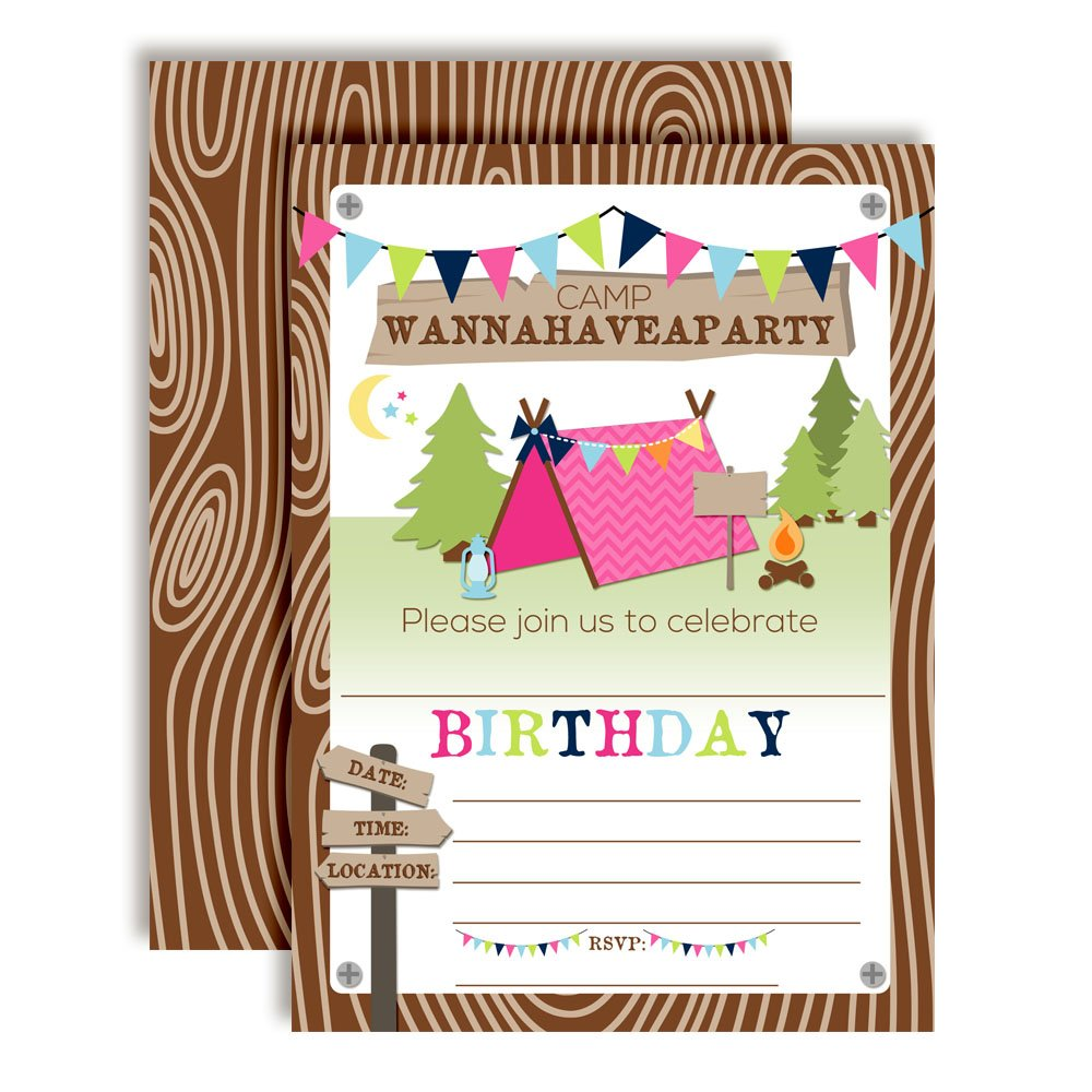 Camping Birthday Party Invitations for Girls, Ten 5''x7'' Fill In Cards with 10 White Envelopes by AmandaCreation