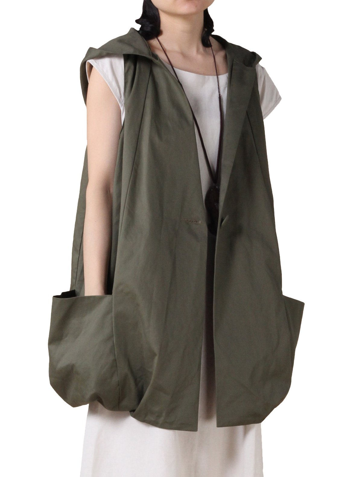 Mordenmiss Women's Sleeveless Coat Vest Hoodie Waistcoat Anoraks with Big Pockets (Medium, Style 2-Army Green)