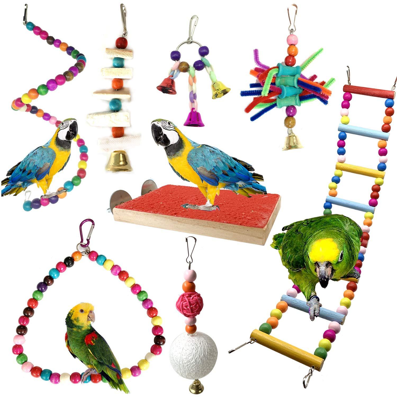 Anjing Jaula de pájaros Accesorios 8 Piezas Colorido pájaro Percha ...