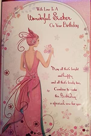 Art Deco 1920s Flapper Lady Sister Glittered Birthday Card Lovely Verse Amazoncouk Office Products