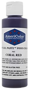 AmeriColor Food Coloring, Coral Red Soft Gel Paste, 4.5 Ounce
