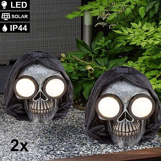 LED Außen Leuchte SOLAR Deko Totenkopf Lampe silber-schwarz Garten Hof Strahler