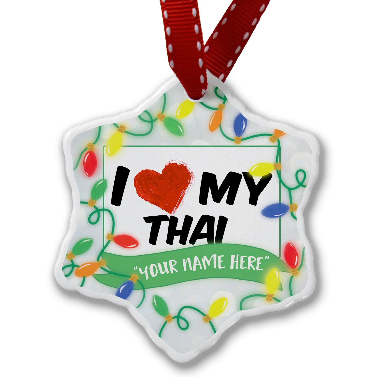 Personalized Name Christmas Ornament, I Love my Thai Cat from Thailand NEONBLOND