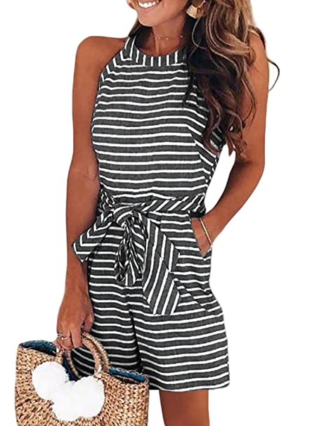 4caa783573eb Amazon.com  Dokotoo Womens Striped Sleeveless Waist Belted Zipper Back Wide  Leg Rompers with Pockets  Clothing