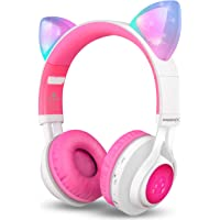 Bluetooth Headphones, Riwbox CT-7 Cat Ear LED Light Up Wireless Foldable Headphones Over Ear with Microphone and Volume Control for iPhone/iPad/Smartphones/Laptop/PC/TV (White&Pink)