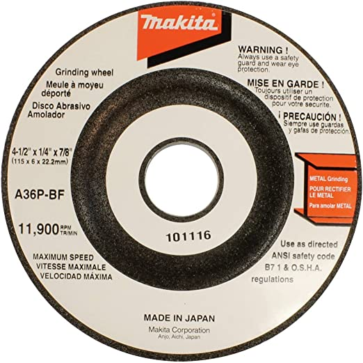1//4 in Thick 4 1//2 in Dia 5//8 Arbor 20 Pack Hardness Grade R Depressed Center Wheel