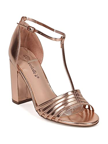 30ae984ad50 Women Metallic Leatherette Open Toe T-Strap Block Heel Sandal HA16 - Rose  Gold Metallic