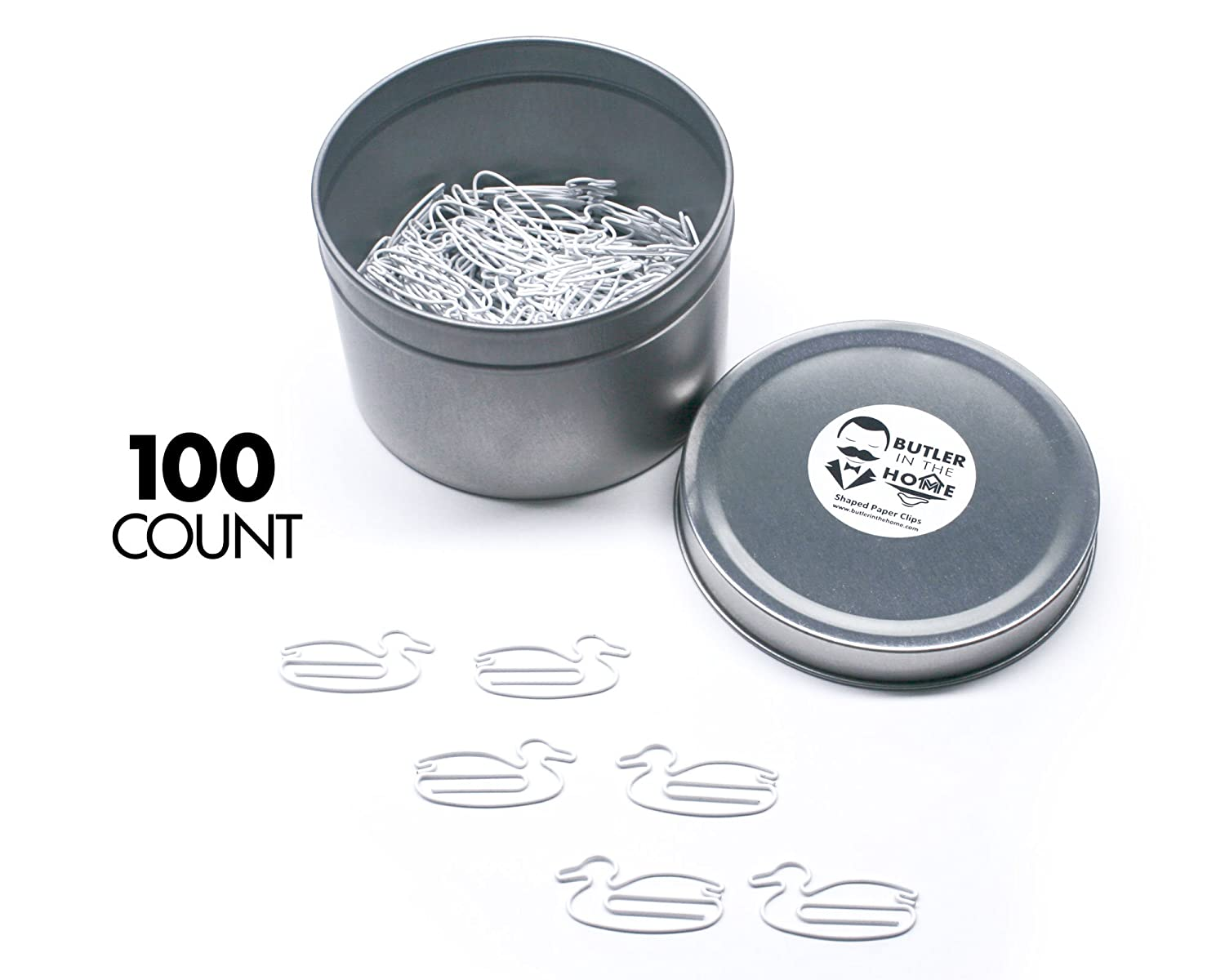 Butler in the Home Duck Shaped Paper Clips Great For Paper Clip Collectors or Office Gift - Comes in Round Tin with Lid and Gift Box (White 100 Count)