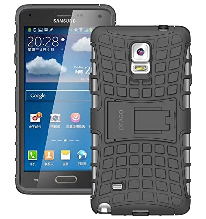 Samsung Galaxy Note 4 Case, Tough Rugged Dual Layer Protective Case with Kickstand for Samsung Galaxy Note 4 - Black