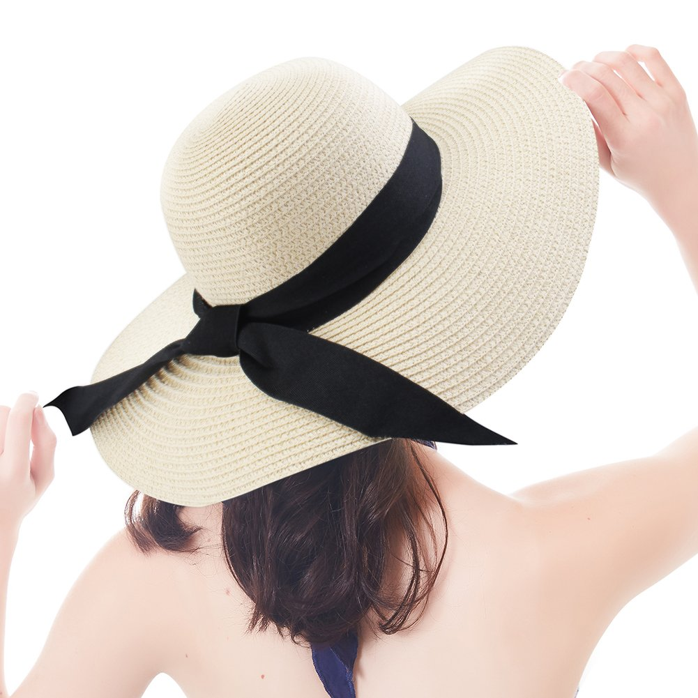 Wide Brim Beach Straw Sun Hat for Womens Travel Packable Cap with Summer Beach Chin Strap by FURTALK (Image #2)