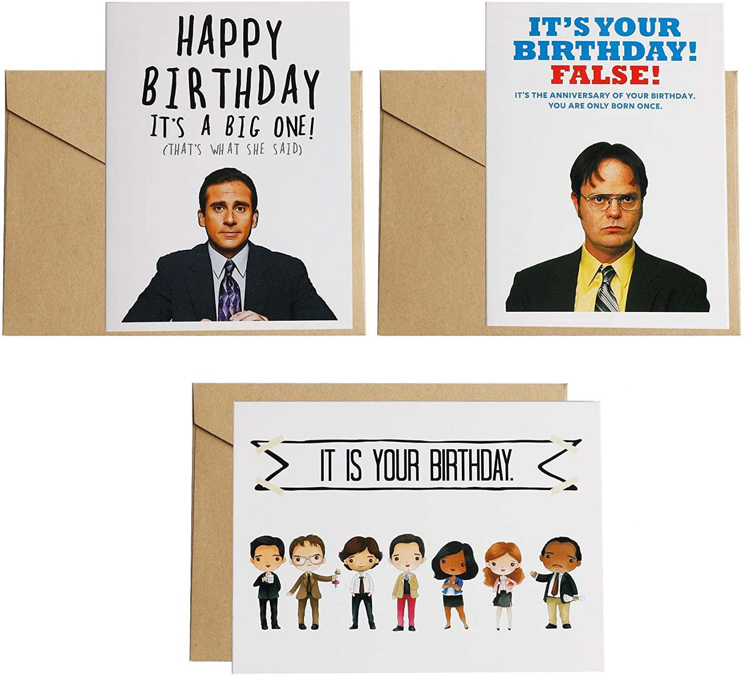 3PCS The Office card ,Dwight Schrute False , It Is Your Birthday,Michael Scott Birthday Card,4.4x6inches,Kraft envelopes