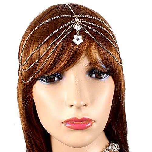 Amazon v g s eternity fashions hair accessory white flower v g s eternity fashions hair accessory white flower goldtone head chain hair band hc3371 mightylinksfo