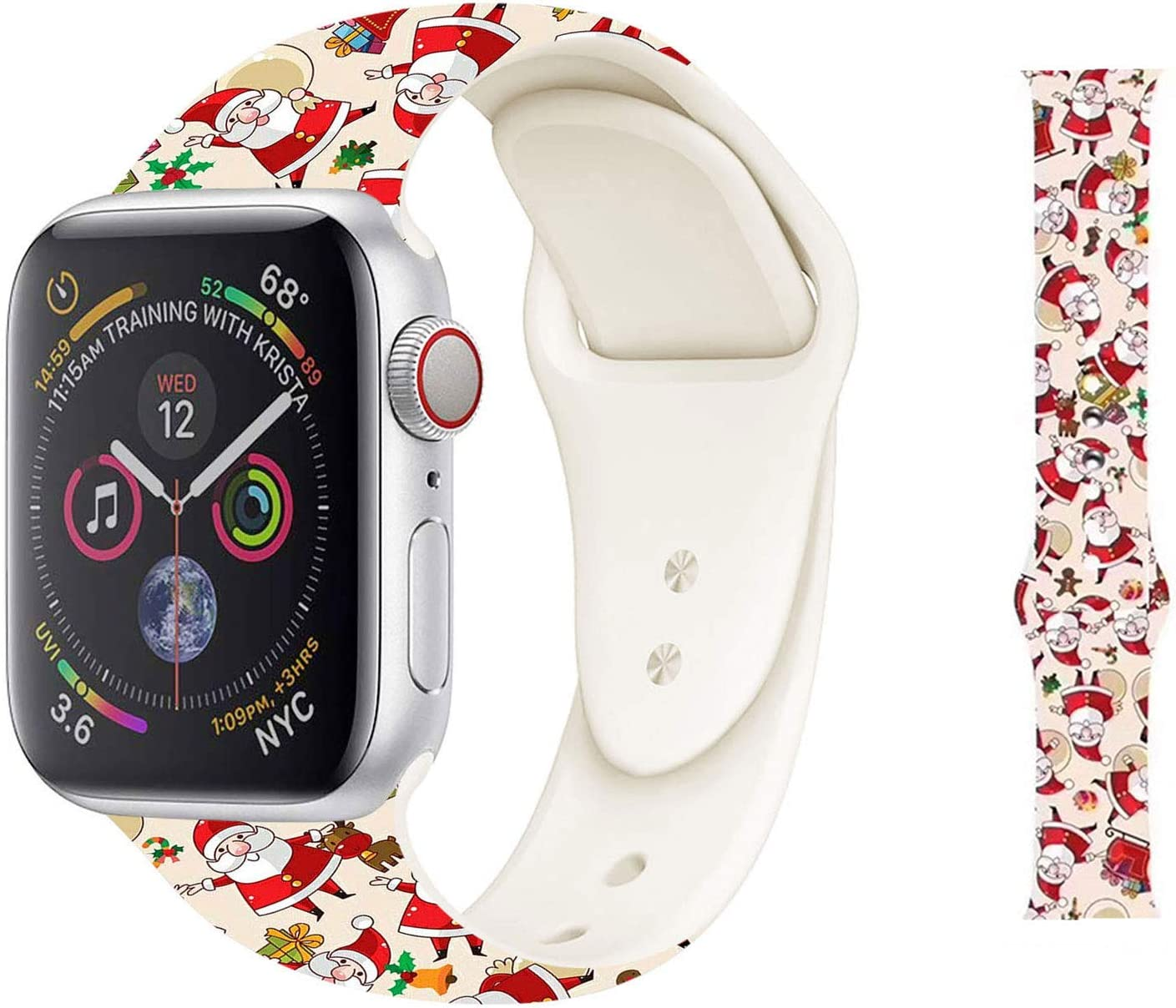 Hi-Yoohere Chic Breathable Christmas Santa Claus Pattern Bands Compatible for Apple Watach 38mm 40mm, Grade Soft Silicone Sports Wristband Strap for iWatch SE & Series 6/5/4/3/2/1